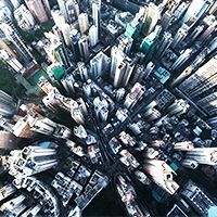 Image of city looking down from the sky.
